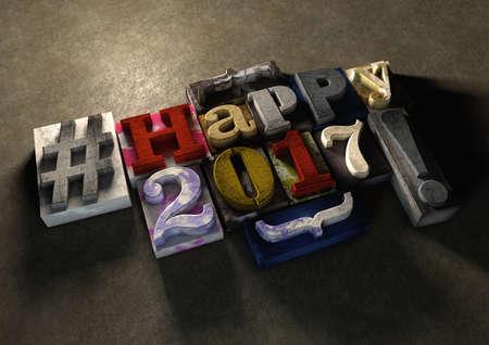 2017 지저분한 나무 인쇄 블록, 2017에 대 한 행복 한 새 해 메시지에 해피 2017.