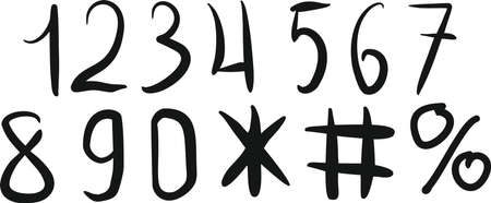 1234567890 . Vector illustration of a set of handwritten numbers