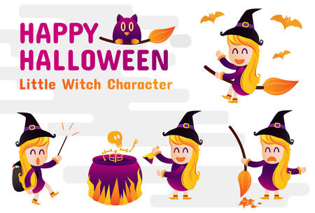 happy halloween and little witch