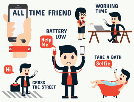on the handphone: mobile addiction infographics Illustration