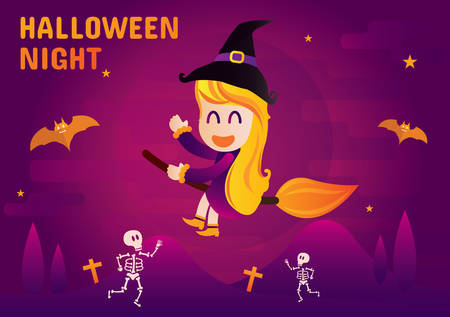 the night: halloween night and witch