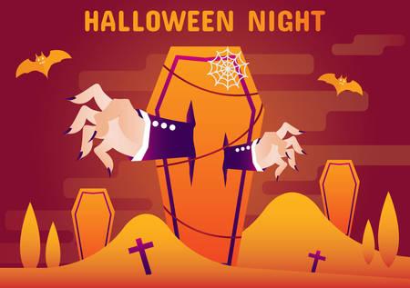 halloween night and hand zombie