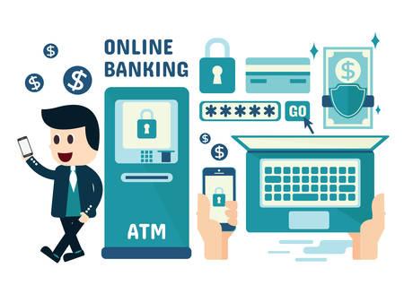 Online Banking Infographics, Flat Design