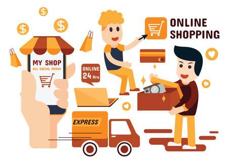Online Shopping Infographics, Flat Design Иллюстрация