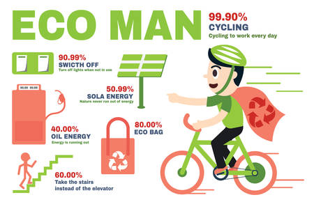 ECO MAN Infographics and character design Иллюстрация