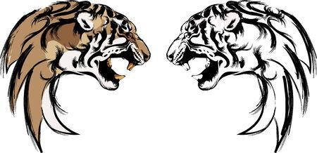 tijger hoofd in blacl en kleur