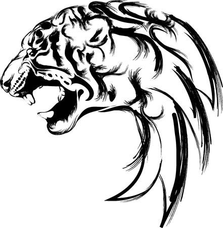 tijger hoofd in het zwart