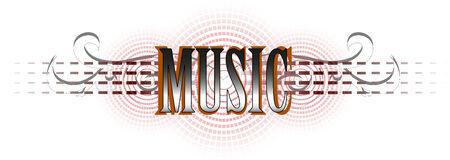 masthead: music word in color interpretation  Illustration