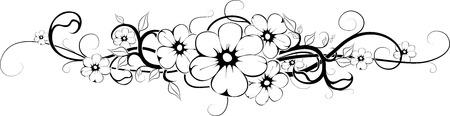 rose tattoo: floral tattoo in black interpretation horizontal position   Illustration