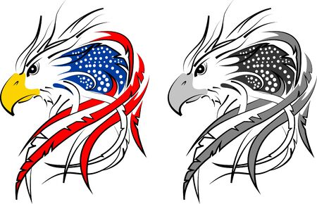 usa flag in eagle incorporated 2  イラスト・ベクター素材