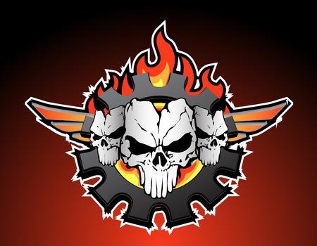 racing wings: skulls trio motor Illustration