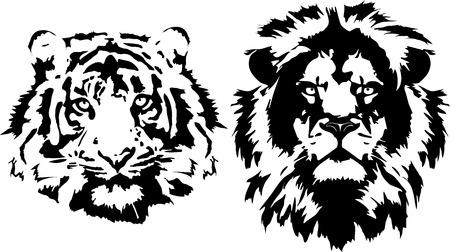 Cabeza de león tatuaje y tigre Foto de archivo - 90058810