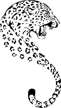 Leopard in black interpretation Vectores