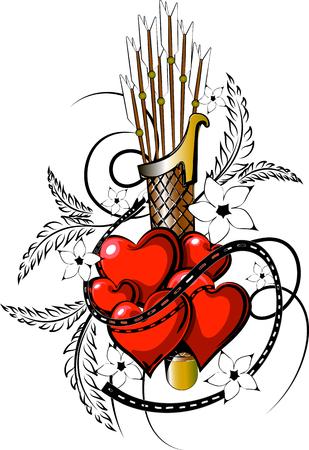 Valentine tattoo in vectorial format. Vectores