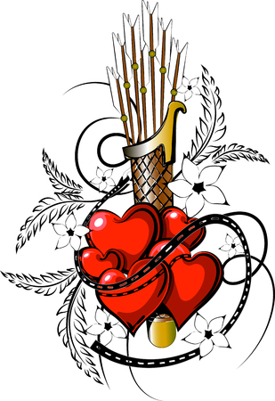 Valentine tattoo in vectorial format. Ilustração