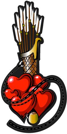 Valentine-tatoeage in vectorformaat Stock Illustratie