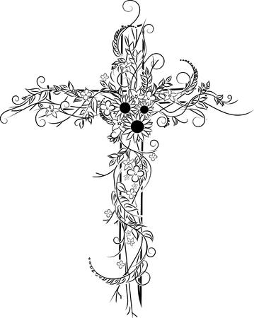 Flower tattoo illustration. Vectores