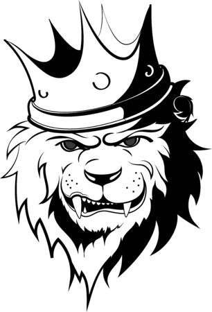 lion, king with crown vector illustration 1