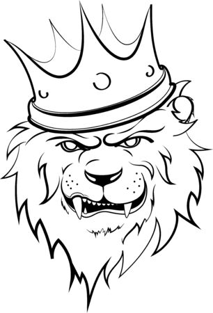 lion, king with crown vector illustration 2