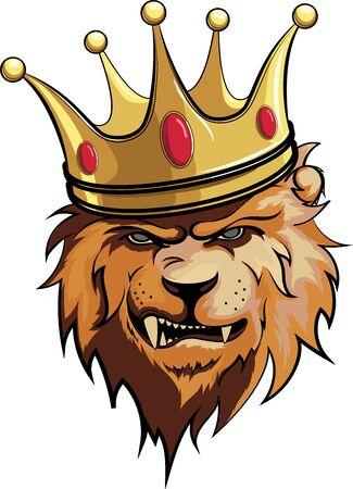 lion, king with crown vector illustration 3 일러스트