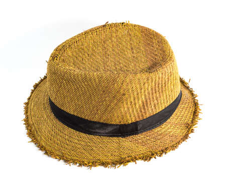 dressy: Brown straw hat isolated on white background