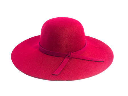 red straw: red straw hat isolated on white background Stock Photo