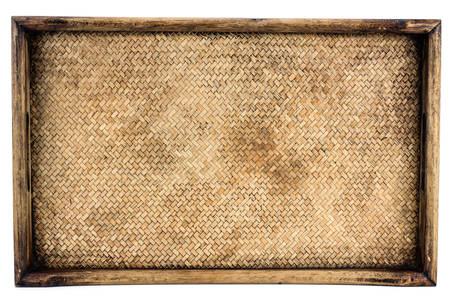 wood texture: Weaving rattan basket trays isolated on white background Stock Photo