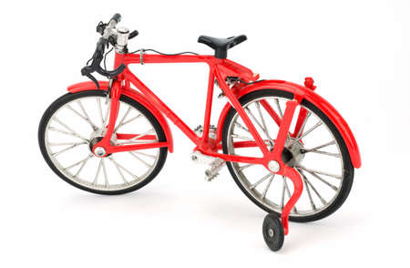 shocks: Red bicycle isolated on a white background