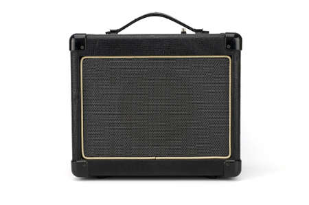 guitar amplifier: Electric guitar amplifier isolated on white background,music speaker Stock Photo