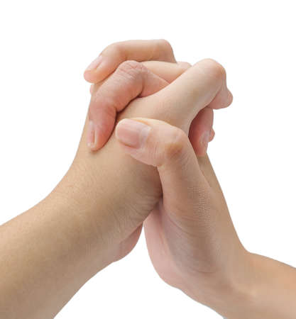 hands clasped: Hands clasped together isolated on a white background