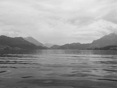 vastness: Lucerne, Switzerland, on sunset. View over river,black and white tone