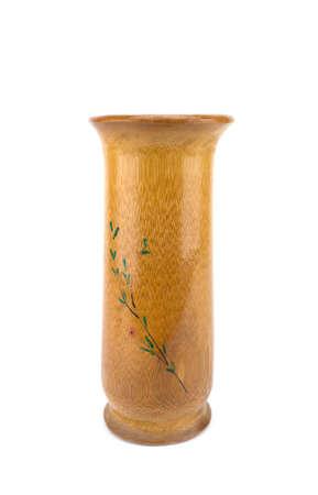 Handcraft wood vase isolated on white background