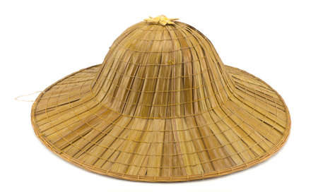 wicker work: Brown straw hat isolated on white background