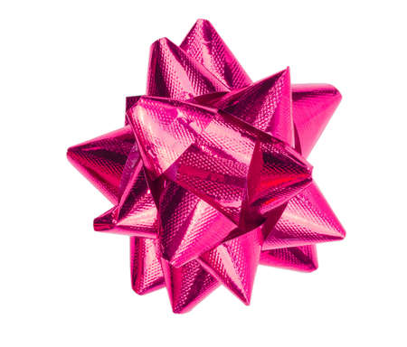 Pink gift bow isolated on the white background with clipping path
