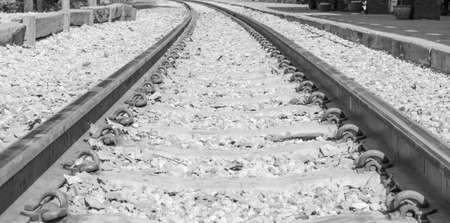 Old railroad tracks close up background ,black and white tone