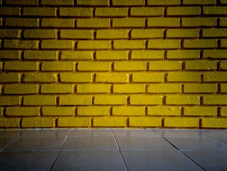 Yellow brick wall texture background