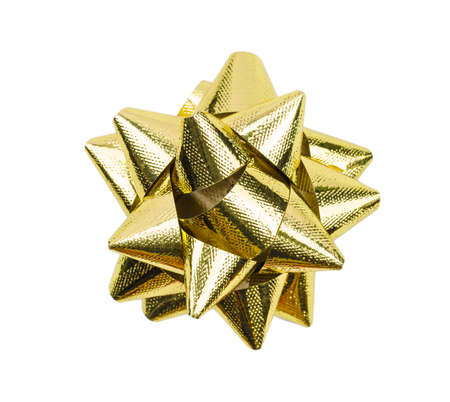 Golden Christmas bow ribbon isolated on the white background with clipping path Фото со стока