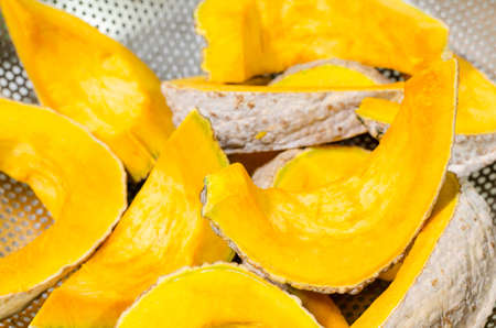 Close-up view of Fresh pumpkin slice Stock Photo