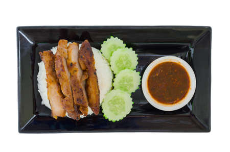 Grilled chicken teriyaki with rice and vegetables isolated on the white background with clipping path Фото со стока