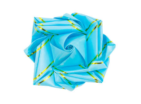blue gift bow isolated on the white background with clipping path Фото со стока