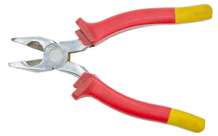 Red pliers isolated on white background with clipping path Фото со стока