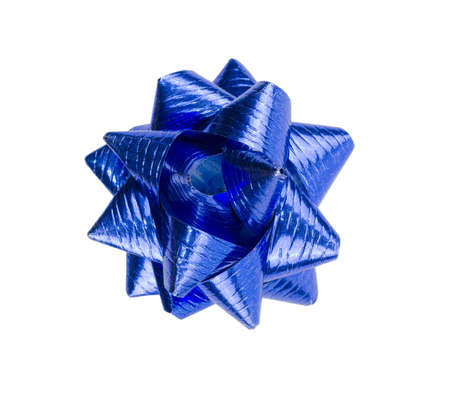 Blue Christmas bow ribbon isolated on the white background with clipping path
