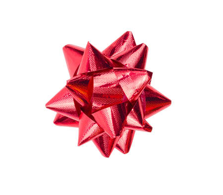 Red gift bow isolated on the white background with clipping path Фото со стока