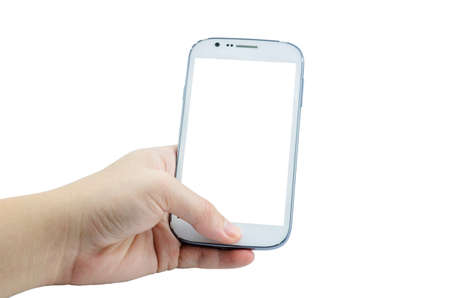 Male hand holding Old white Mobile Phone isolated on white background with clipping path