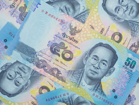 Close up 50 thai banknotes of thailand currency,Denomination banknote of 50 bahts Фото со стока