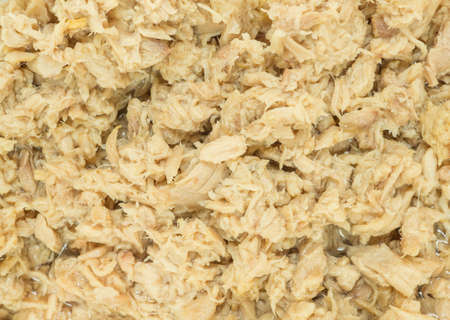 Top view closeup canned tuna,white meat tuna packed in water