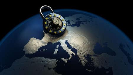 GDPR Europe DSGVO Privacy Policy Map Lock EU Standard-Bild - 102879890