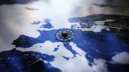 GDPR Europe DSGVO Privacy Policy Map Lock EU Standard-Bild