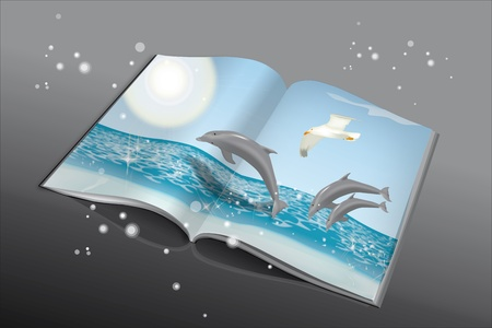 Book with dolphins and seagull on the ocean Stock Vector - 12429975