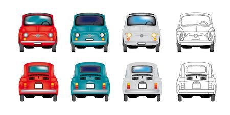 italian car: 3 Vintage colored 500 and black white drawing Illustration